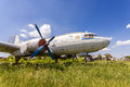 Old russian turboprop aircraft il m at an abandoned aerodrome samara russia may in summertime Royalty Free Stock Image