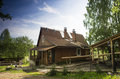Old russian vintage house wooden at summer Stock Photo