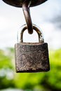Old rusted lock on the sky background rust security Stock Image
