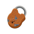 Old rusted padlock with open keyhole isolated on white background.