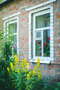Old rustic brick house with high yellow flowers in the garden, white, pink and red geranium in flowerpots on the window. Royalty Free Stock Photo