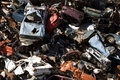 Old rusting cars in a junk yard Royalty Free Stock Photo