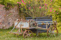 An old rusty agricultural chariot was abandoned in a garden Royalty Free Stock Photo