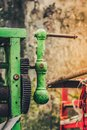 Old rusty arm of sugarcane juice machine manual Royalty Free Stock Photo