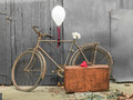 Old rusty bicycle decorated, intimate pictures for greetings card Royalty Free Stock Photo