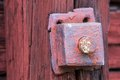 Old rusty bolt on wooden plank an Royalty Free Stock Image
