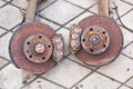 Old rusty brakes from the car