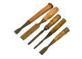 Old rusty chisels isolated on white background Royalty Free Stock Photo