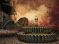 Old rusty cogwheels fantasy scenery with Royalty Free Stock Images