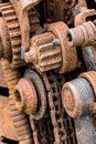 Old rusty gear wheels. grunge metal machinery details closeup. Royalty Free Stock Photo