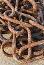 Old and rusty harbor chains. Royalty Free Stock Photo