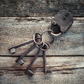 Old rusty lock with keys Royalty Free Stock Photo