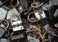 Old rusty locks keys flea market paris selective focus shallow depth field Royalty Free Stock Image