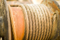 Old rusty machinery wire cable in Royalty Free Stock Images