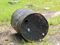 Old rusty metal oil barrels port side empty recycle for something Royalty Free Stock Photos