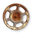 Old rusty metal valve on white background Royalty Free Stock Photo