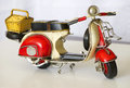 Old rusty motorcycle toy colorful metal Royalty Free Stock Photos