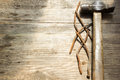 Old rusty nails and hammer Royalty Free Stock Photo