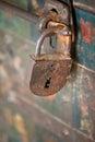 Old rusty padlock closeup of Stock Images