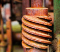 Old and rusty pinion gear of machine in factory a Stock Photography