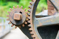 Old and rusty pinion gear of a machine Royalty Free Stock Photo