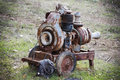 Old rusty pump abandoned in the surrounding countryside to a city Royalty Free Stock Photos