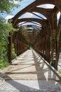 Old rusty railroad bridge abandoned used for bike lane for passing sava dolinka Royalty Free Stock Image
