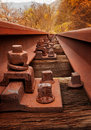 Old rusty railway with screw close up Stock Photography