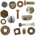 Old rusty Screw heads, bolts, old metal pin Royalty Free Stock Images