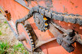 Old rusty species of part of agricultural machinery in rural areas. Royalty Free Stock Photo