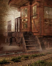Old rusty train in a foggy forest Stock Photo