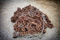 Old rusty vintage metal chain pile of an long with large links Stock Image