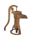 Old rusty water pump isolated weathered and rusted hand with spout for a well on white Stock Photos