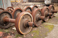 Old rusty wheels of train abandoned Stock Image
