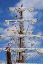 Old sailboat mast and sails Royalty Free Stock Image