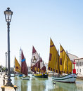 Old sailboats canal cesenatico italy Stock Photo