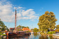 Old sailing boat in the Dutch village Heeg, Friesland Royalty Free Stock Photo