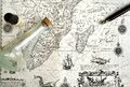 Old sailing map, pirate & hidden treasure concept Royalty Free Stock Photo