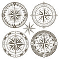 Old sailing marine navigation compass, wind rose vector icons