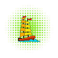 Old sailing ship icon, comics style Royalty Free Stock Photo