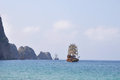 Old sailing ship in the ocean Royalty Free Stock Photo