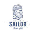 Old sailor logo or label. Seaman with a beard. Hand drawn illustration. Hipster logotype. Profile view. Vintage design.