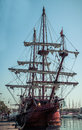 Old sailship in port vell in barcelona spain Royalty Free Stock Image