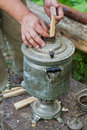 Old samovar kindling of outdoors Royalty Free Stock Photos
