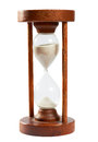 Old sand clock hourglass timer from tuimes to measure time isolated on white with clipping path uncluded Stock Images
