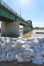 Old sava bridge belgrade serbia may sandbags in belgrade on may at river and sandbags for flood protection in belgrade serbia Stock Photography