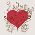 Old school style tattoo heart with flowers and dagger valentine illustration for holiday design Stock Photography