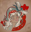 Old school styled tattoo woman valentine illustration with bird and ribbon vintage background Stock Photo