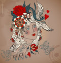 Old school styled tattoo woman valentine illustration with flowers vintage Stock Image