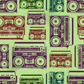 Old school tape recorders psychedelic style seamless texture vector illustration Royalty Free Stock Photos